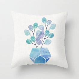Blue Bonsai - Potted Plant Throw Pillow