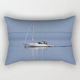 Sailboat Motors up the River Rectangular Pillow