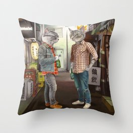 A Cats Night Out Throw Pillow