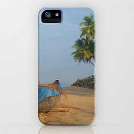 Boat and Palms on Black Beach Varkala iPhone Case