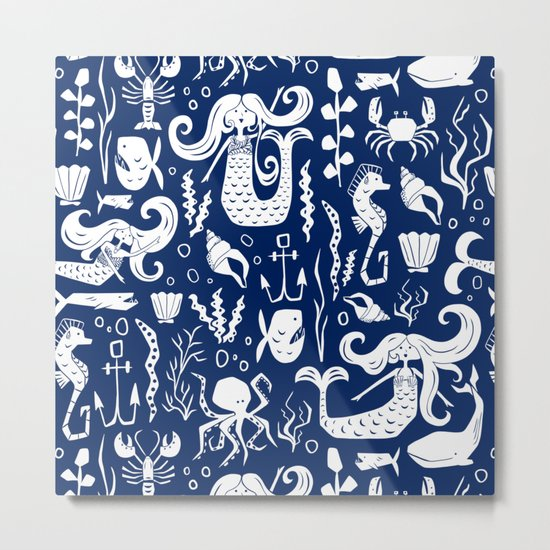 Under The Sea Navy Blue Metal Print