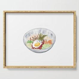Watercolor Illustration of a Cuisine - Korean Bibimbap   韩式拌饭 Serving Tray
