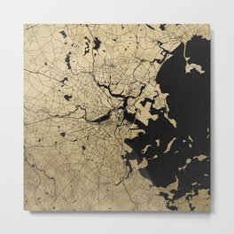 Boston Black and Gold Map Metal Print