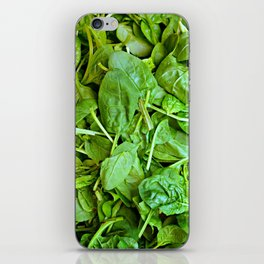 Fresh green spinach salad pattern iPhone Skin