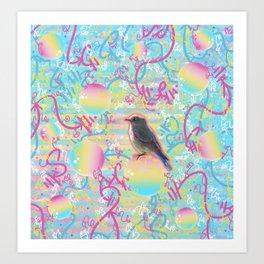 Summery Bubbly Bird Art Print