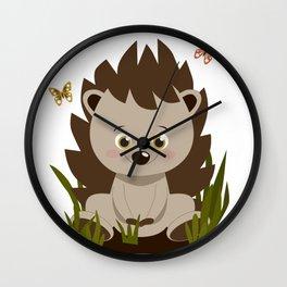 Hedgehog nursery baby art Wall Clock