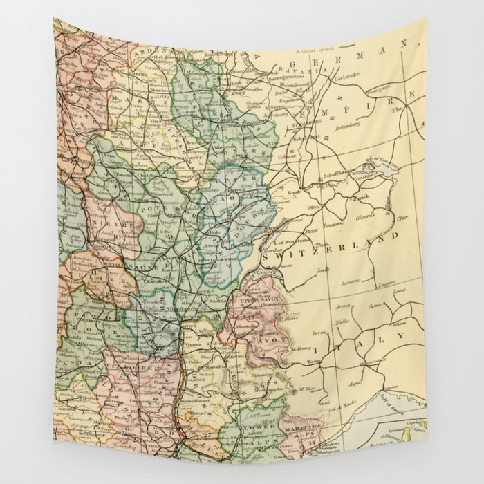 Old Map Of France.Old Map Of The East Of France Wall Tapestry By Graphikz
