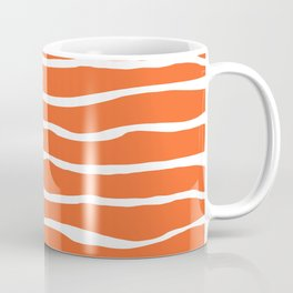 Sand Dune Paper Stripes Organic Pattern in White and Orange Coffee Mug