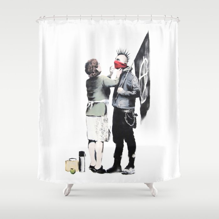 Banksy Punk With Mother Shower Curtain By Alma Design