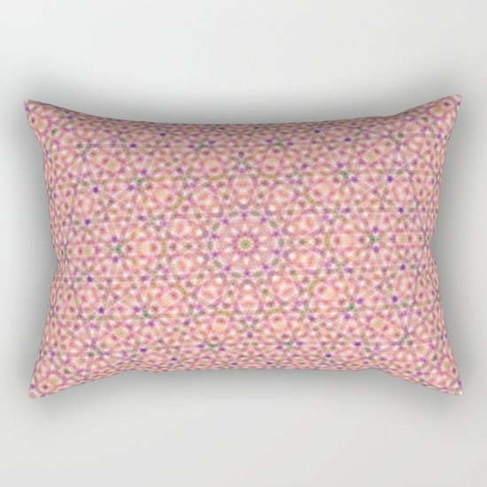 Pink Purple and Green Stripes and Triangle Pattern Rectangular Pillow