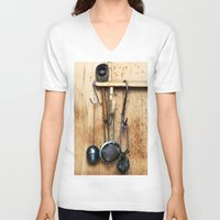 kitchen V-neck T-shirts featuring KITCHEN EQUIPMENT by CAPTAINSILVA