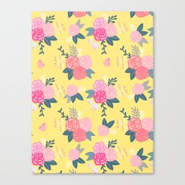 Sweet Roses on Yellow Canvas Print
