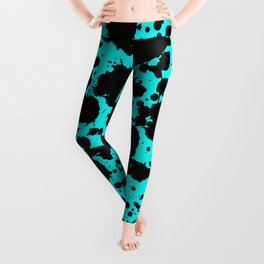 Bright Turquoise and Black Funny Leopard Style Paint Splash Pattern Leggings