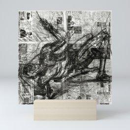 Breaking Loose - Charcoal on Newspaper Figure Drawing Mini Art Print