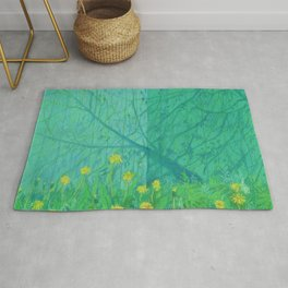 Shadows and Dandelions, Summer Garden, Pastel Painting, Impressionism Rug