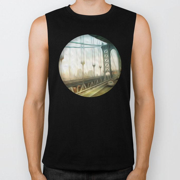 manhattan bridge morning Biker Tank