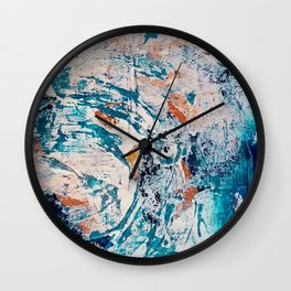 Reflections: a bold and interesting abstract mixed media piece in blues, yellows, orange, and white Wall Clock