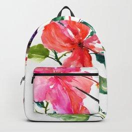 Hummingbird and Hibiscus, tropical Hibiscus design Backpack