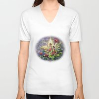 buddha V-neck T-shirts featuring Buddha  by Harsh Malik