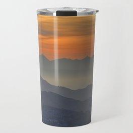 Mountains. Foggy sunset Travel Mug