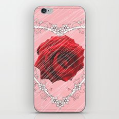 floral heart with red rose iPhone & iPod Skin