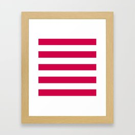 Spanish carmine - solid color - white stripes pattern Framed Art Print