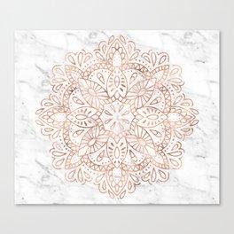 Rose Gold Mandala on Marble Canvas Print