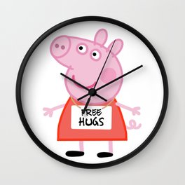 Peppa pig free hugs Wall Clock
