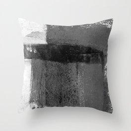 Torn Edges - Grey and White Minimalist Abstract Painting Throw Pillow