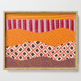 Abstract Orange, pink, purple collage pattern Serving Tray
