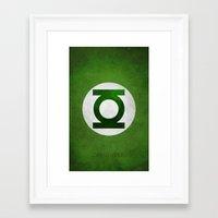 green lantern Framed Art Prints featuring Green Lantern by whosyourdeddy