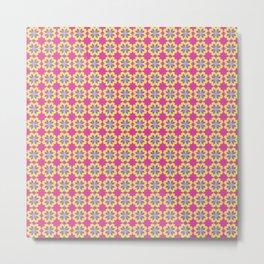 Pink Mediterranean tiles pattern Metal Print