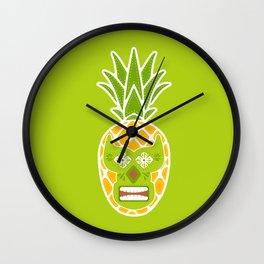 Tiki Lucha Libre Yellow and Chartreuse Wall Clock