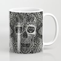 skull Mugs featuring Lace Skull by Ali GULEC