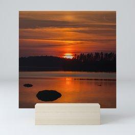 Beautiful Sunset with Strong Orange Color #decor #society6 #buyart Mini Art Print