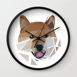 Low polygon shiba inu face Wall Clock