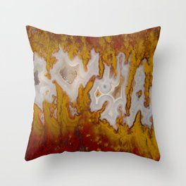 Cady Mountain Yellow Flame Agate Throw Pillow