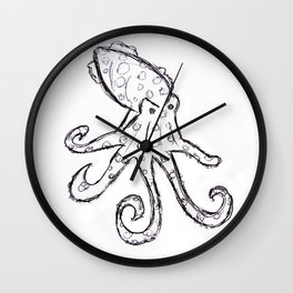 Octopus - Original Pen Ink Sketch Wall Clock
