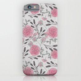 Soft and Sketchy Peonies iPhone Case