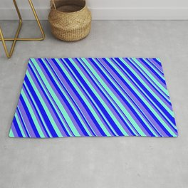 Blue, Medium Slate Blue & Aquamarine Colored Pattern of Stripes Rug