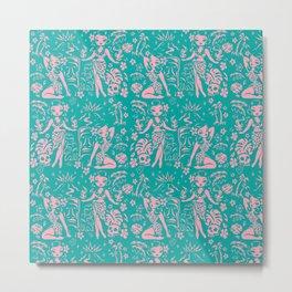 Tiki Temptress in Pink and Turquoise Metal Print