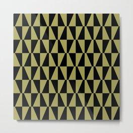 Mid Century Modern Geometric 312 Black and Olive Metal Print