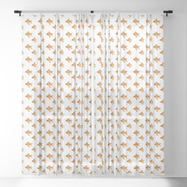 Gold Fish Painting Wall Art Sheer Curtain