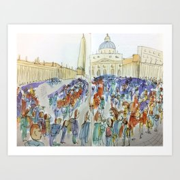 The Crowds of St. Peter's Square, 2015 Art Print