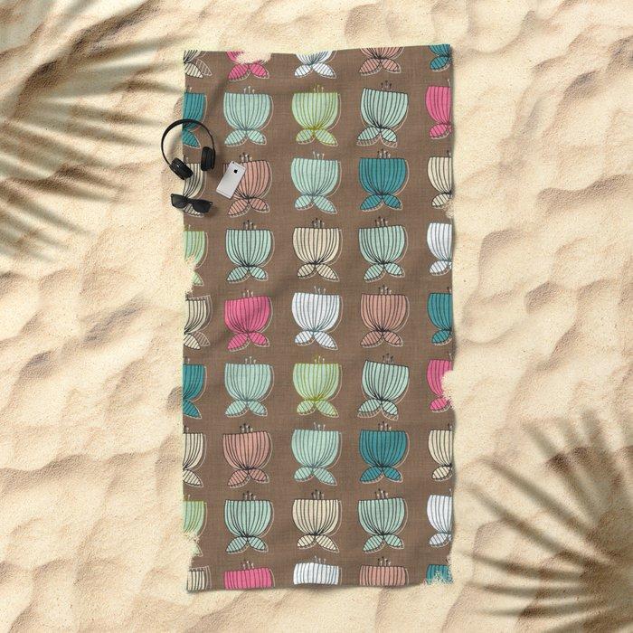 flower cups brown Beach Towel