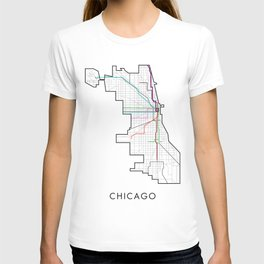 Chicago Street Map With CTA Train Lines T-shirt