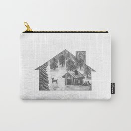 Cabin & Deer BW Carry-All Pouch