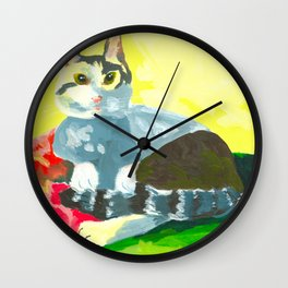 The Colourful Dream of a Cat Wall Clock