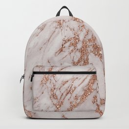 Abstract blush gray rose gold glitter marble Backpack
