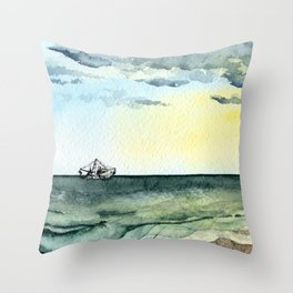 Watercolor Shrimp Boat Beach Scene Throw Pillow